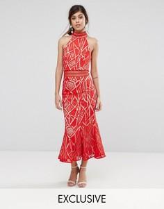 Кружевное платье миди с высоким воротом Jarlo - Красный