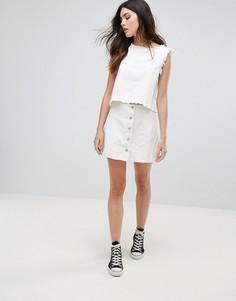 Джинсовая юбка на пуговицах Daisy Street - Белый