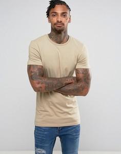 Длинная обтягивающая футболка ASOS - Бежевый
