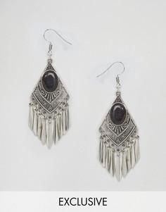 Серьги-подвески в стиле бохо с черным камнем Reclaimed Vintage Inspired - Серебряный