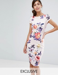 Платье-футляр с короткими рукавами и принтом Closet - Мульти