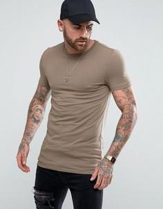 Длинная эластичная футболка ASOS - Коричневый
