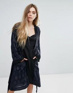 Куртка-кимоно с жаккардовой отделкой Ganni - Темно-синий