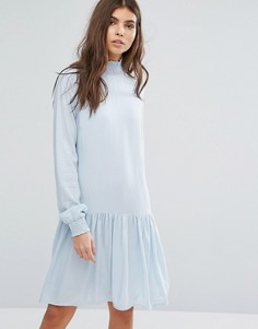 Платье с высоким воротом и заниженной талией Vila - Синий