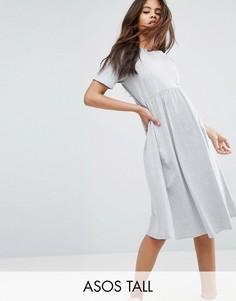 Свободное платье миди ASOS TALL Ultimate - Серый