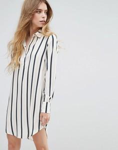 Платье-рубашка в полоску Vila - Темно-синий