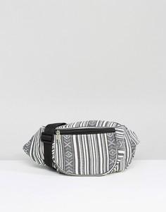 Сумка-кошелек на пояс с ацтекским принтом Reclaimed Vintage - Серый