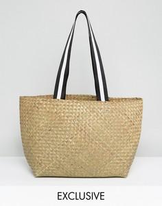 Соломенная сумка на плечо с ручками в спортивном стиле Reclaimed Vintage Inspired - Бежевый