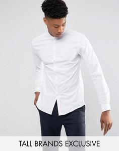 Рубашка скинни с воротом на пуговице Noak TALL - Белый