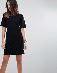 Платье-футболка мини с воротником из искусственной кожи ASOS - Черный