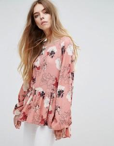 Блузка с цветочным принтом Vila - Розовый