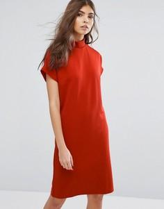 Однотонное платье с воротником-стойкой Vila - Красный