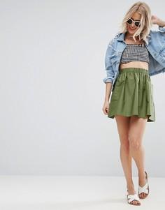Короткая расклешенная юбка из хлопкового поплина с карманами ASOS - Зеленый