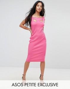 Облегающее платье миди в рубчик с отделкой на плечах ASOS PETITE - Мульти