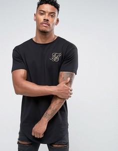 Черная обтягивающая футболка с золотистым логотипом SikSilk - Черный