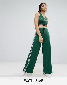 Широкие спортивные штаны с контрастными полосками по бокам Bones - Зеленый