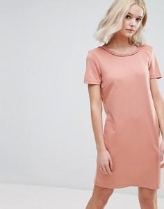 Трикотажное цельнокройное платье Vila - Розовый