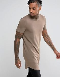 Длинная обтягивающая футболка с асимметричным краем ASOS - Коричневый