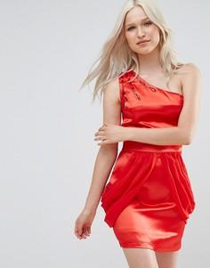 Платье на одно плечо с драпировкой сбоку Jasmine - Красный
