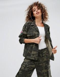 Куртка в стиле милитари с камуфляжным принтом Gestuz Milla - Зеленый