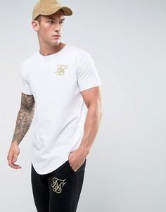Белая футболка с золотистым логотипом SikSilk - Белый