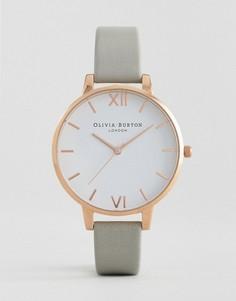 Серые часы с кожаным ремешком и большим циферблатом Olivia Burton OB15BDW02 - Серый