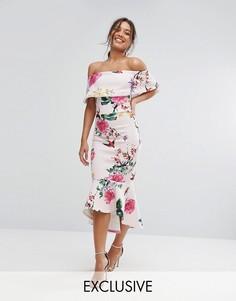 Платье миди с цветочным принтом и оборкой на подоле True Violet - Мульти