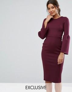 Платье миди со структурным рукавом-клеш True Violet - Мульти