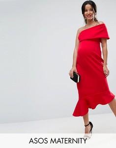 Платье миди на одно плечо с оборкой по нижнему краю ASOS Maternity - Красный