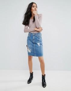 Джинсовая юбка-карандаш с рваной отделкой Pepe Jeans Penny - Синий