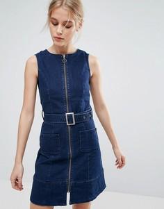 Джинсовое платье на молнии с поясом Pepe Jeans Penelope - Темно-синий