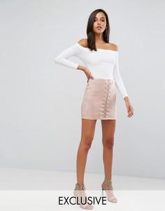 Мини-юбка со шнуровкой спереди Parallel Lines - Розовый