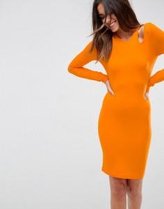 Облегающее платье мини с вырезами на плечах ASOS - Оранжевый