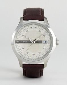 Часы с кожаным коричневым ремешком Armani Exchange AX2100 - Коричневый