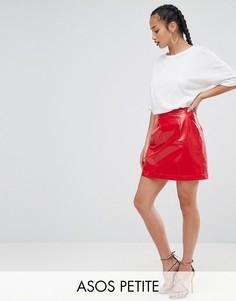 Виниловая мини-юбка ASOS PETITE - Красный