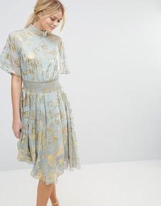 Свободное платье с принтом металлик Y.A.S - Серый