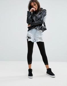 Леггинсы с кружевной отделкой New Look - Черный