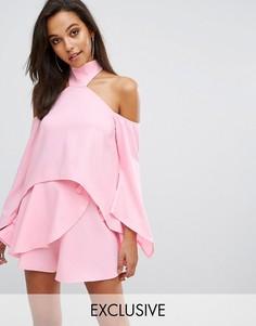 Топ с чокером и открытыми плечами Parallel Lines - Розовый