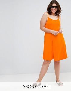 Свободное платье мини в рубчик ASOS CURVE - Оранжевый
