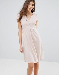 Трикотажное платье с V-образным вырезом Jasmine - Кремовый