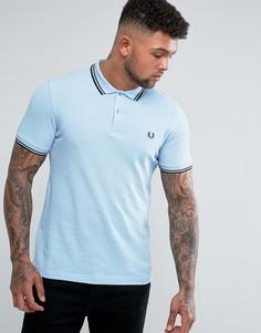 Синяя узкая футболка-поло с контрастными полосками Fred Perry - Синий