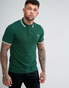 Зеленая футболка-поло узкого кроя с контрастными полосками Fred Perry - Зеленый