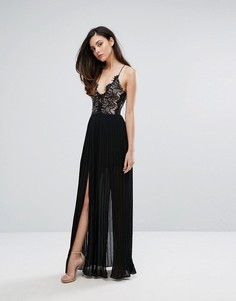 Платье макси с глубоким декольте и двумя разрезами Rare London - Черный