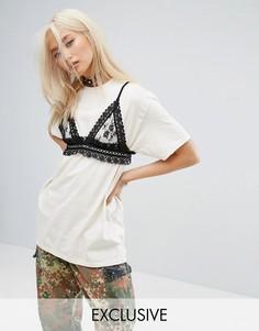Фестивальная oversize-футболка с кружевным бралеттом Milk It Vintage - Кремовый