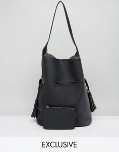 Черная большая повседневная сумка хобо Street Level - Черный
