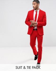 Красный облегающий костюм и галстук OppoSuits PROM - Красный