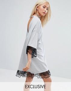 Фестивальное платье-футболка с открытой спиной и кружевной отделкой Milk It Vintage - Серый