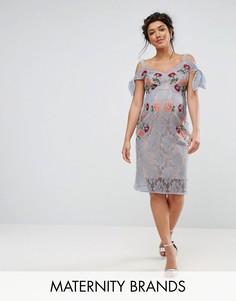 Кружевное платье для беременных с вышивкой и открытыми плечами Hope & Ivy - Синий
