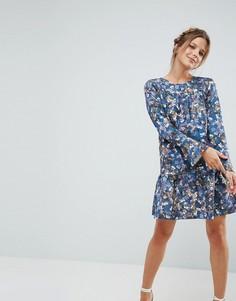 Платье с цветочным принтом и оборкой Closet - Мульти