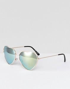 Зеркальные солнцезащитные очки в форме сердец Monki - Зеленый